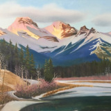 """Bow Valley SunlightOil on canvas24""""x36""""2020Sold"""