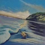 "Take me away to a beach Acrylic on birch panel12""x12""2020$270"