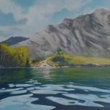 """Waterton LakeAcrylic on canvas14""""x10""""2020$250"""